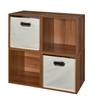 Cubo Storage Set - 4 Cubes and 2 Canvas Bins- Warm Cherry/Natural