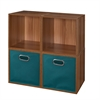 Cubo Storage Set - 4 Cubes and 2 Canvas Bins- Warm Cherry/Teal