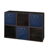 Cubo Storage Set - 6 Cubes and 3 Canvas Bins- Truffle/Blue