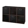 Cubo Storage Set - 6 Cubes and 3 Canvas Bins- Truffle/Black