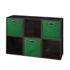 Cubo Storage Set - 6 Cubes and 3 Canvas Bins- Truffle/Green