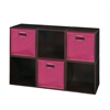 Cubo Storage Set - 6 Cubes and 3 Canvas Bins- Truffle/Pink