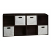 Cubo Storage Set - 8 Cubes and 4 Canvas Bins- Truffle/Natural