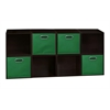 Cubo Storage Set - 8 Cubes and 4 Canvas Bins- Truffle/Green