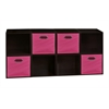 Cubo Storage Set - 8 Cubes and 4 Canvas Bins- Truffle/Pink