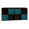 Cubo Storage Set - 8 Cubes and 4 Canvas Bins- Truffle/Teal
