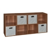 Cubo Storage Set - 8 Cubes and 4 Canvas Bins- Warm Cherry/Natural