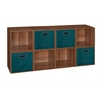 Cubo Storage Set - 8 Cubes and 4 Canvas Bins- Warm Cherry/Teal