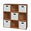 Cubo Storage Set - 9 Cubes and 5 Canvas Bins- Warm Cherry/Natural