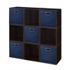 Cubo Storage Set - 9 Cubes and 5 Canvas Bins- Truffle/Blue
