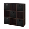 Cubo Storage Set - 9 Cubes and 5 Canvas Bins- Truffle/Black