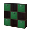 Cubo Storage Set - 9 Cubes and 5 Canvas Bins- Truffle/Green