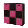 Cubo Storage Set - 9 Cubes and 5 Canvas Bins- Truffle/Pink