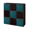 Cubo Storage Set - 9 Cubes and 5 Canvas Bins- Truffle/Teal