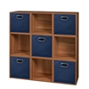 Cubo Storage Set - 9 Cubes and 5 Canvas Bins- Warm Cherry/Blue