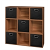 Cubo Storage Set - 9 Cubes and 5 Canvas Bins- Warm Cherry/Black
