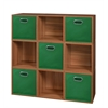 Cubo Storage Set - 9 Cubes and 5 Canvas Bins- Warm Cherry/Green