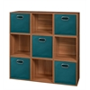 Cubo Storage Set - 9 Cubes and 5 Canvas Bins- Warm Cherry/Teal