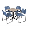 "Cain 30"" Square Breakroom Table- Beige & 4 Zeng Stack Chairs- Blue"