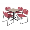 "Cain 30"" Square Breakroom Table- Beige & 4 Zeng Stack Chairs- Burgundy"