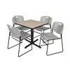 "Cain 30"" Square Breakroom Table- Beige & 4 Zeng Stack Chairs- Grey"