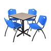 "Cain 30"" Square Breakroom Table- Beige & 4 'M' Stack Chairs- Blue"