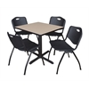 "Cain 30"" Square Breakroom Table- Beige & 4 'M' Stack Chairs- Black"