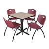 "Cain 30"" Square Breakroom Table- Beige & 4 'M' Stack Chairs- Burgundy"