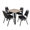 "Kee 30"" Square Breakroom Table- Beige/ Black & 4 Restaurant Stack Chairs- Black"