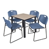 """Kee 30"""" Square Breakroom Table- Beige/ Black & 4 Zeng Stack Chairs- Blue"""