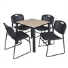 "Kee 30"" Square Breakroom Table- Beige/ Black & 4 Zeng Stack Chairs- Black"