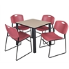 "Kee 30"" Square Breakroom Table- Beige/ Black & 4 Zeng Stack Chairs- Burgundy"