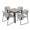 "Kee 30"" Square Breakroom Table- Beige/ Black & 4 Zeng Stack Chairs- Grey"
