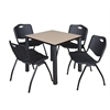 "Kee 30"" Square Breakroom Table- Beige/ Black & 4 'M' Stack Chairs- Black"