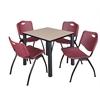 "Kee 30"" Square Breakroom Table- Beige/ Black & 4 'M' Stack Chairs- Burgundy"