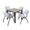 "Kee 30"" Square Breakroom Table- Beige/ Black & 4 'M' Stack Chairs- Grey"