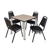 """Kee 30"""" Square Breakroom Table- Beige/ Chrome & 4 Restaurant Stack Chairs- Black"""