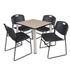 "Kee 30"" Square Breakroom Table- Beige/ Chrome & 4 Zeng Stack Chairs- Black"