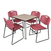 "Kee 30"" Square Breakroom Table- Beige/ Chrome & 4 Zeng Stack Chairs- Burgundy"