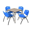 "Kee 30"" Square Breakroom Table- Beige/ Chrome & 4 'M' Stack Chairs- Blue"