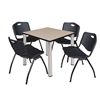 "Kee 30"" Square Breakroom Table- Beige/ Chrome & 4 'M' Stack Chairs- Black"