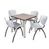 "Kee 30"" Square Breakroom Table- Beige/ Chrome & 4 'M' Stack Chairs- Grey"