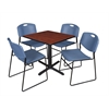 "Cain 30"" Square Breakroom Table- Cherry & 4 Zeng Stack Chairs- Blue"