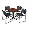 "Cain 30"" Square Breakroom Table- Cherry & 4 Zeng Stack Chairs- Black"