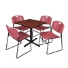 "Cain 30"" Square Breakroom Table- Cherry & 4 Zeng Stack Chairs- Burgundy"
