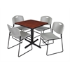 "Cain 30"" Square Breakroom Table- Cherry & 4 Zeng Stack Chairs- Grey"