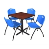 "Cain 30"" Square Breakroom Table- Cherry & 4 'M' Stack Chairs- Blue"