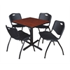 "Cain 30"" Square Breakroom Table- Cherry & 4 'M' Stack Chairs- Black"