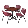 """Cain 30"""" Square Breakroom Table- Cherry & 4 'M' Stack Chairs- Burgundy"""
