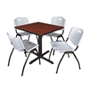 "Cain 30"" Square Breakroom Table- Cherry & 4 'M' Stack Chairs- Grey"